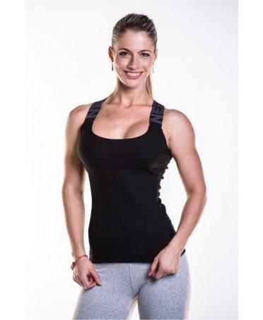 canotta da donna nera in cotone elasticizzato, shopping online, acquisti online moda sportiva,