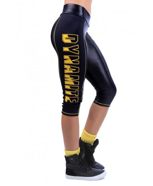 legging corto nero in supplex e cirre' dynamite.profili gialli, fantaleggins moda per tutti gli sport, completi sportivi,