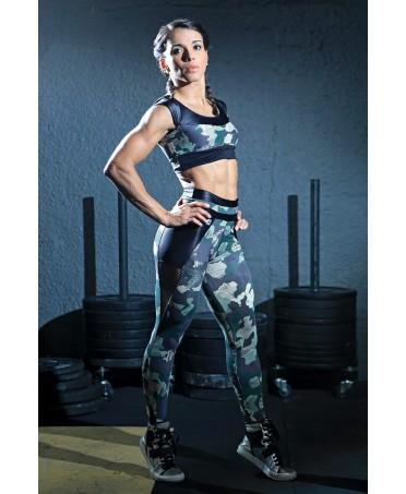 legging camo dynamite con inserti in rete nera. tessuto lucido,abbigliamento tecnico per fitness e body building,
