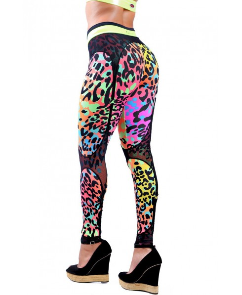 retro cost charm best price Leggings LEOPARD PRINT DYNAMITE WITH GARTER BELT TROPICANA