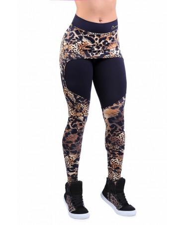 legging leopardato con taglio a reggicalze e minigonna sovrapposta, five ring integrazione per body building,