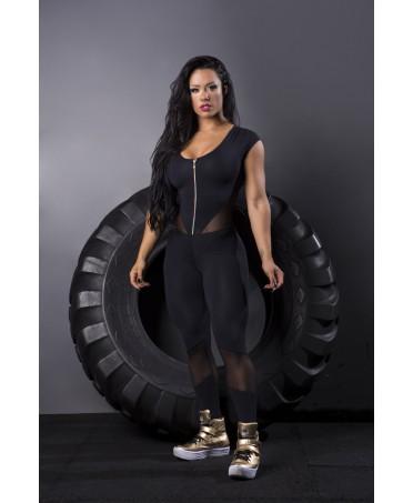 tuta spalla larga con cerniera davanti,moda sportiva aggressiva,aderente e push up,tessuto tecnico di qualita'