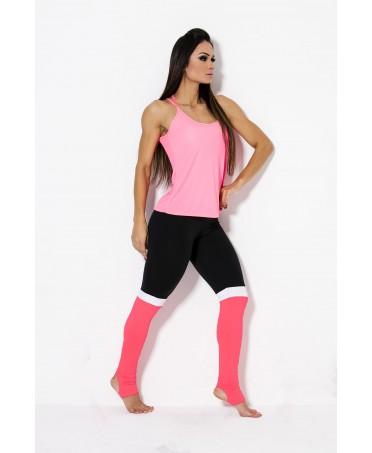 llegging bicolore nero e arancio canoan, contenitivo con effetto puush up,moda giovane fitness top gamma
