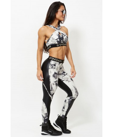 leggings with elastic waistband with logo, inserts in cirre' shiny, new design fashion fitness complete sports massage