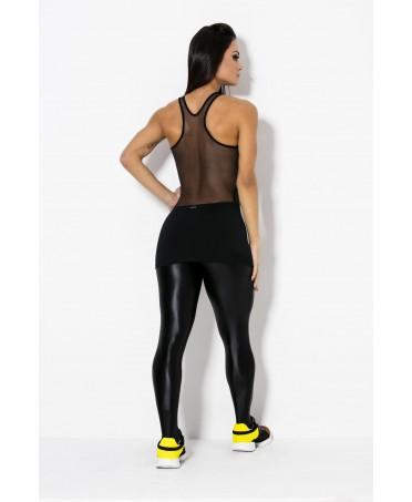 tuta intera con gonnellino che copre il gluteo, tulle sulla schiena e cirre' lucido nero, modello esclusivoo