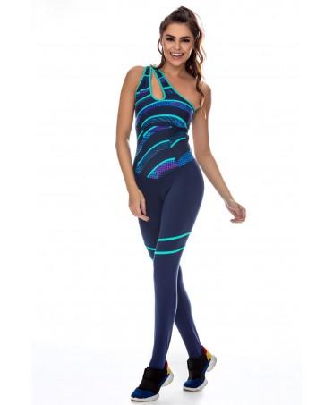 tuta fantasia canoan, tessuto tecnico supplex 380, traspirante ed elastico, colori vivaci sul tono dell'azzurro,viola e verde