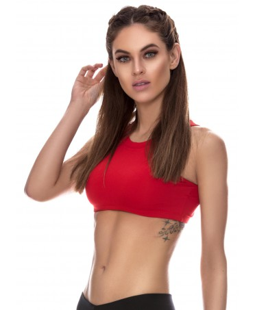 top red short canoan, a top with cups in the breast, a red top for the gym, short top support hose