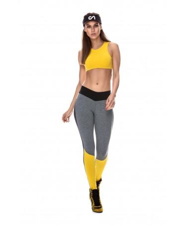 Pantacollant grigio,giallo e nero da donna per lo sport, vendita on line su fantaleggins.com,
