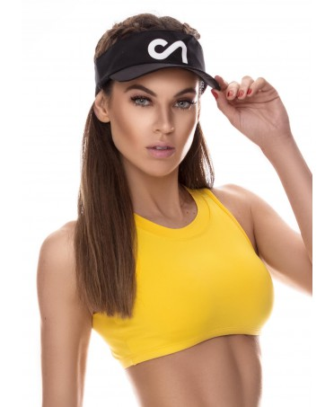 top giallo da palestra, top corto moda sportiva donna, maglietta in supplex canoan
