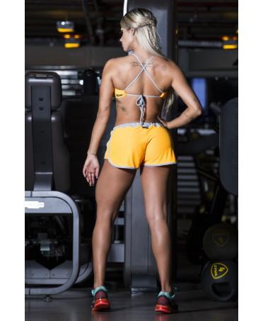 pantalone corto donna morbido, shorts giallo da donna, pantaloncino per la corsa da donna