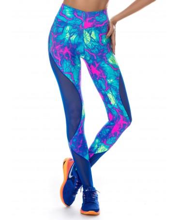 legging donna azzurro fitness, fascia in vita, effetto push up sui glutei