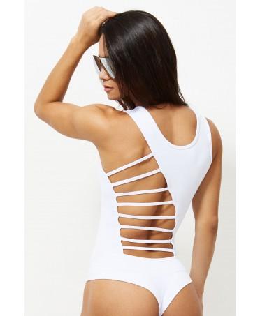 Body donna sportivo bianco, bdy fitness perizoma, body fitness schiena nuda