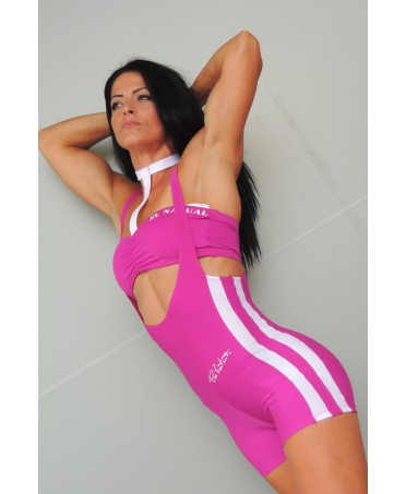 one-piece suit women's fuchsia, profiles color white, track suit for the gym, exclusive model