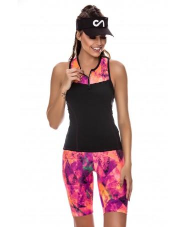 top canoan bicolore da donna, maglia donna sportiva nera e fantasia, tessuto contenitivo, colori vivaci