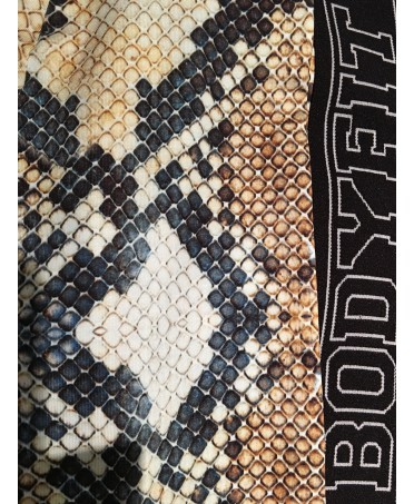 Legging snake printed Bodyfit con elastici laterali, tuta aderente modellante e contenitiva, top per palestra,