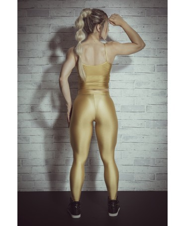 Leggings golden yellow with zipper fly, button closure, fashion supplex, leggings, storage and modelling