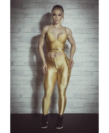Pantacollant color oro, tuta sportive guess, tute sportive in offerta, coordinato per sport elegante,