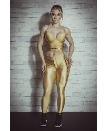 Leggings in gold color, suit for sports, guess, tracksuits on offer, coordinated for sport chic,