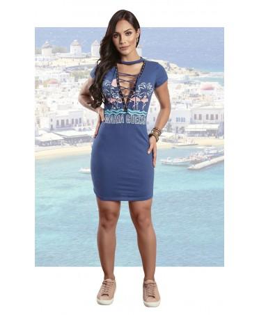 vestito Maria Gueixa toni del blu, vestito tubino con scollatura sexy, abbigliamento in supplex, abbigliamento sportivo elegante