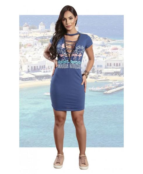 04200514ebf6 comfortable dress blue with woven maria gueixa