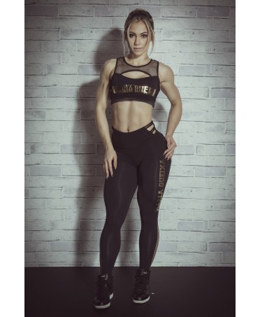 Leggings high waist black,gold print and pockets on the buttocks a push-up effect, fashion wear online shop,