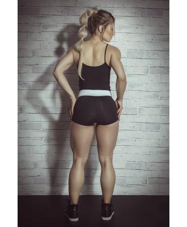 short saia fitness transpassado Maria Gueixa, short con gonnellina sovrapposta,