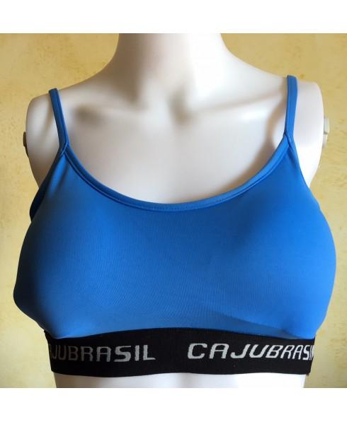 Top azzurro Cajubrasil da donna, top con coppe imbottite, top in tessuto elastico traspirante, top push up,