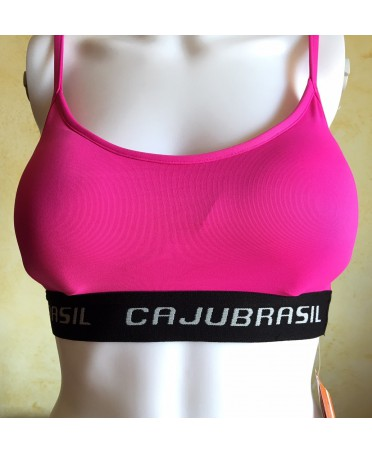 Top fuxia Cajubrasil with padded cups and elastic black, top storage, breathable, top cups, removable,