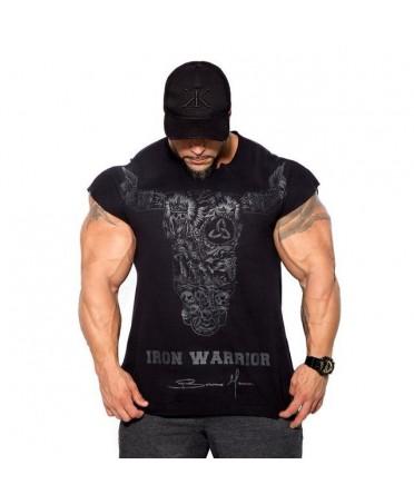 T-SHIRT MAN BLACK BULL VIKINGS BULKING