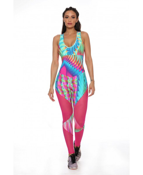 ONE-PIECE SUIT PRINTED WITH TULLE, BRIGHT PINK CANOAN JOY