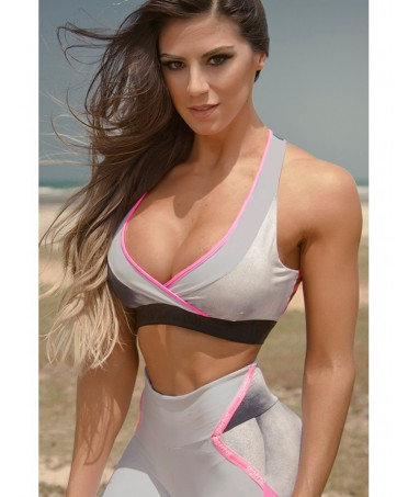 Top Ribbons grigio e fuxia da donna. Superhot