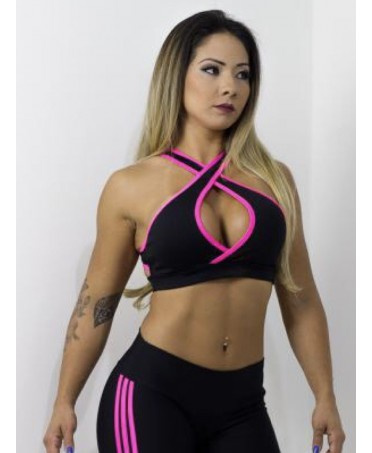 FITNESS TOP NERO E FUXIA  DOUBLE CROSSED  ZNG