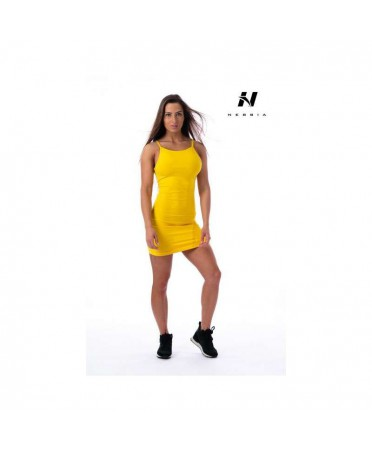 YELLOW TUBE DRESS IN SUPPLEX WITH LASER CUTS NEBBIA