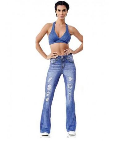 Long jeans flare Cajubrasil, legging a zampa di elefante, leggins stampa jeans ultrarealistica, pantacollant push up,
