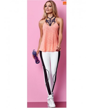 Leggings woman white with inserts of black lace on the sides, leggings push up, leggings push up,