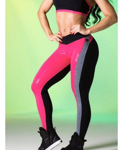 6f31ab17a4d9e Leggings shaping black and fuchsia Canoan in supplex. Back matte black;  front fuxia shiny effect latex. Leggings diaper breathable that raises the  gluteus, ...