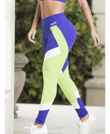 LEGGINGS VERDE-BLU TURN UP...