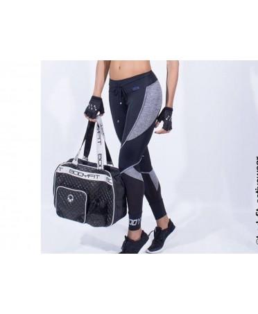 Bag gym Bodyfit for women, quilt effect, with flask holder and headphone port, fantaleggins fitness,