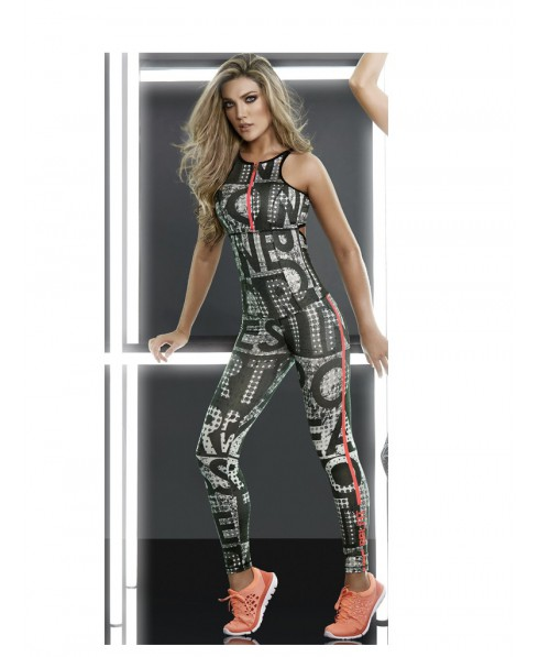 9785bbec787b10 One-piece suit sporting a printed patterned white and black with zip on the  chest Babalu'; fabric is durable and stretchy, slightly compressive, ...