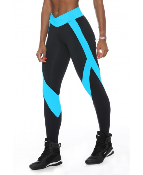 7c21944a86fd3c Leggings sports black and turquoise molding and compression fabric supplex  380 Canoan. A leggings with a high waist that supports the forms by lifting  the ...