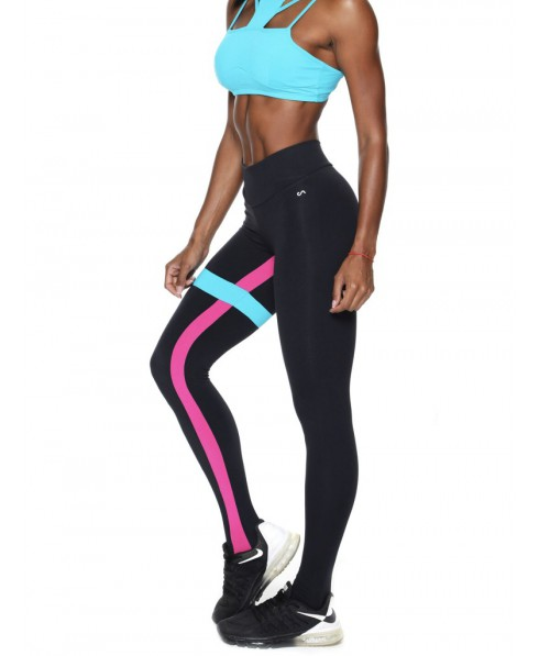 0fe5c3ebc73484 Leggings sports black with the profiles turquoise and fuchsia compression  and shaping in supplex 380 Canoan: a leggings, support hose that lifts the  ...