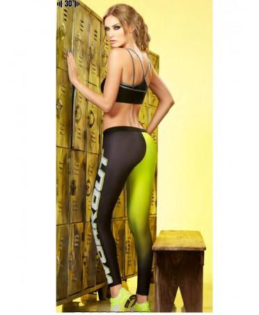 Legging con gambe di diverso colore; tessuto leggero e aderente e colori sfumati dal nero al giallo. babalu'