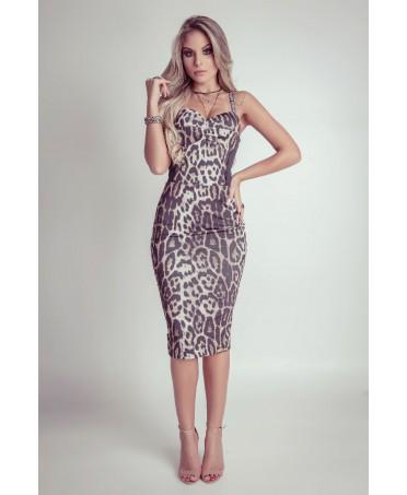 327022aeb690 Sheath dress leopard print with cups the stiff yarn supplex Maria ...