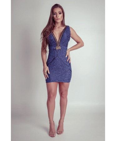 DRESS LOW-CUT BLUE LACE...