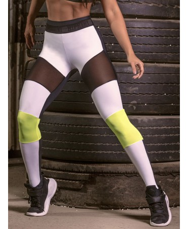 LEGGINGS GYM BIANCO NERO E GIALLO HIPKINI ARMY STRATEGY