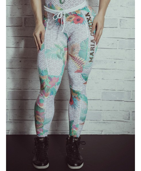 e2e4bcc521ffda Leggings high waist with drawstring, white with fancy geometric shapes, and  floral.A leggings, suitable for all casual occasions, sport and not only.