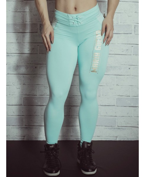 728c992ba9bda0 Leggings compression Maria Gueixa high waisted with waistband and pockets  to the color green water.Supplex compression 380 model by lifting the  buttocks and ...