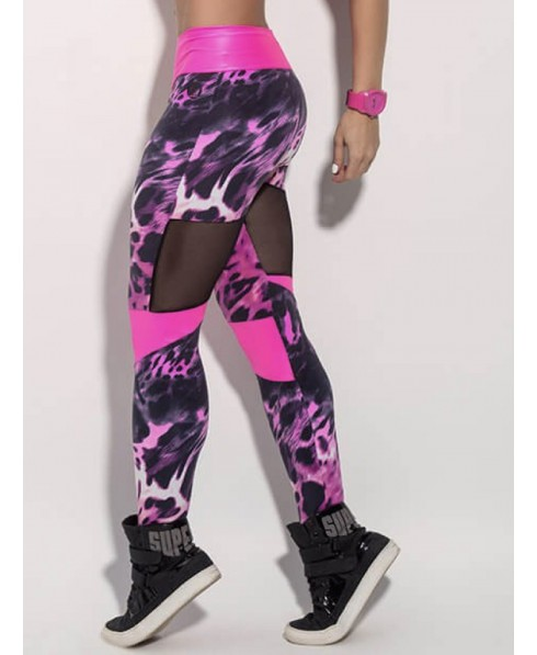 54ec193a6e068 Leggings Superhot in animal print in supplex 320 control and shaping  available in white, pink and black, with inserts of fuchsia, shiny and  smart-cut black ...