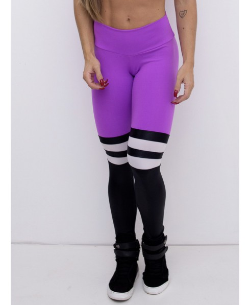 72fb6677ab174a Leggings purple and black with white insert model college.ZNG offers a  leggings in technical fabric that lifts the buttocks and shapes the belly  hiding ...