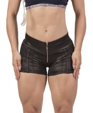 SHORTS BLACK LEATHER EFFECT...